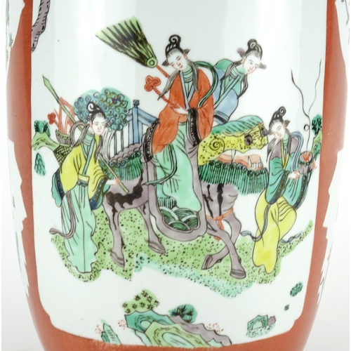 2045 - Chinese porcelain vase, hand painted in the famille verte palette with panels of figures in an inter...
