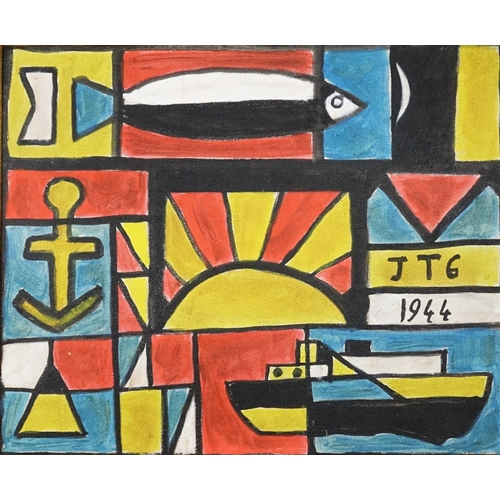 2114 - Abstract composition with boat and fish, oil on canvas board, bearing a monogram JTG, framed, 46cm x...