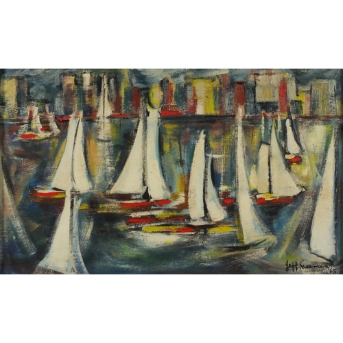 2173 - Impressionist harbour, Durban, oil on board, bearing a indistinct signature possibly Jeff Kiseman an...