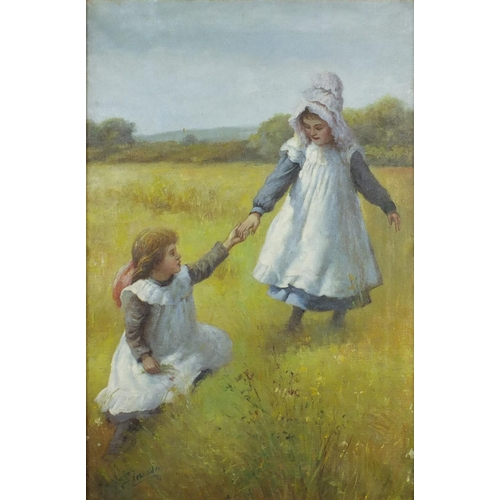 2079 - Two young girls in a field holding hands, impressionist school oil on canvas, bearing an indistinct ...