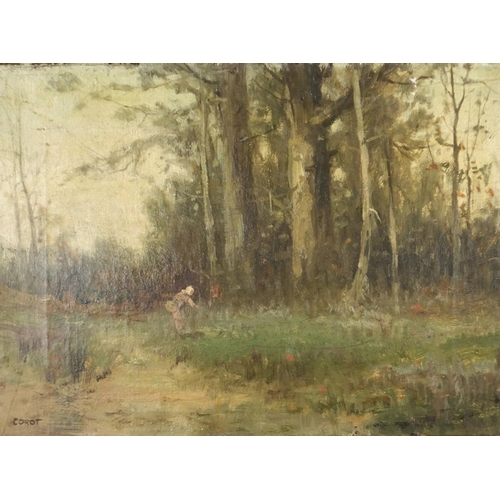 2115 - Young lady in a misty landscape, 19th century oil on canvas, bearing a signature Corot and label ver...