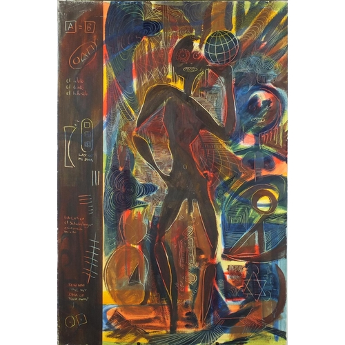 2228 - Surreal figures, pair of African tribal school oil on canvases, unframed, each 100cm x 66cm...