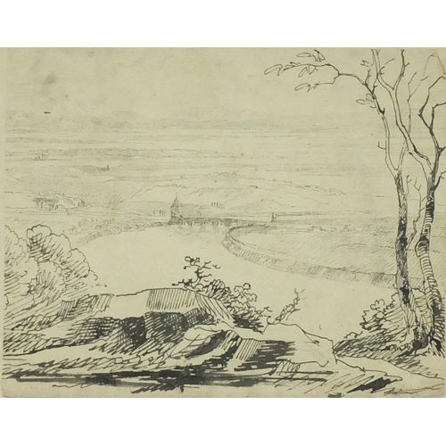 2152 - Fort by a river, 18th century Old Master pen and ink framed, 20cm x 16.5cm...
