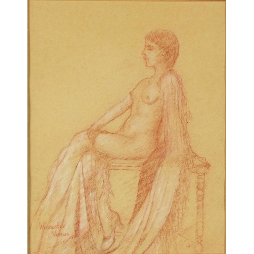 2074 - Portrait of a nude female, red chalk, bearing a signature possibly Winaster Venus and inscription ve...