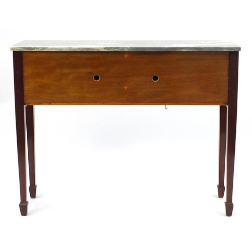 2020 - Inlaid mahogany console table, with grey marble top and a pair of cupboard doors raised on square ta...