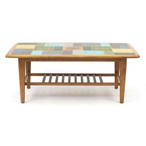 2028 - Retro teak tile top coffee table with under tier, 40cm H x 100cm W x 54cm D...