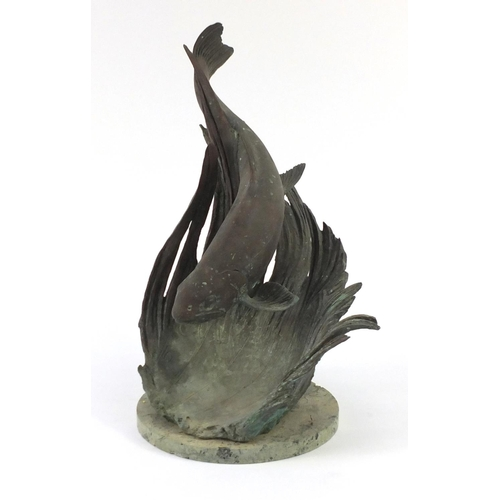 2030 - Large bronze sculptural sundial of a trout, on circular marble base, 54cm high...