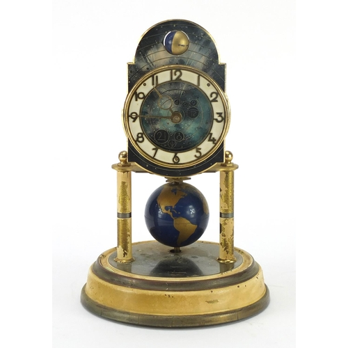 2090 - German brass Anniversary clock by J Kaiser with Arabic numerals, 25cm high...
