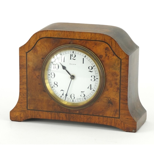 2066 - Bayard eight day walnut mantel clock, with enamelled dial and Arabic numerals, 15cm high...