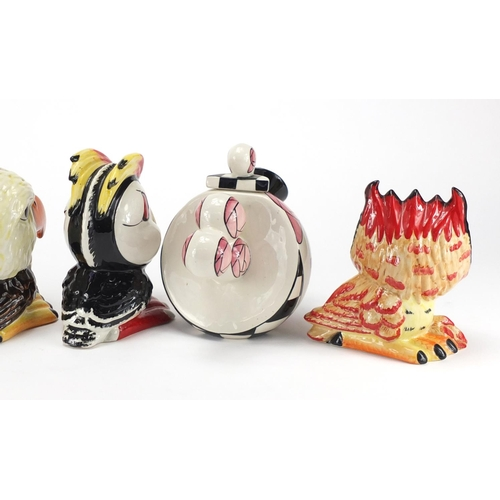 2057 - Lorna Bailey porcelain including an abstract teapot and a puffin, the largest 17cm high...