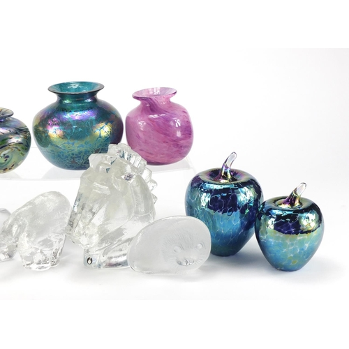 2107 - Art glassware including Swedish paperweights, two signed iridescent vases, iridescent Royal Brierley...