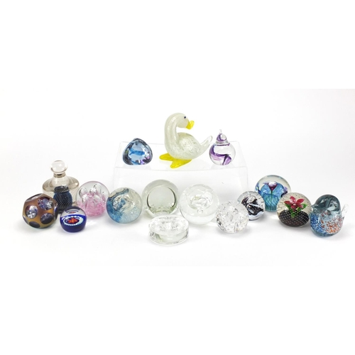 2067 - Colourful glass paperweights and animals including  Caithness and Helen Millard, the largest 11.5cm ...