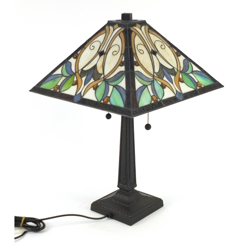 2015 - Tiffany design table lamp with floral leaded shade, 62cm high...