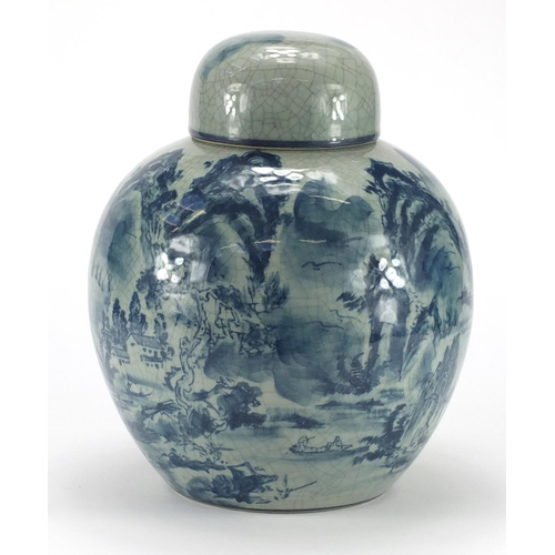 2159 - Large Chinese crackle glazed jar and cover hand painted with a river landscape, 32cm high...