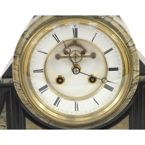 2127 - Victorian black slate and marble mantle clock with visible Brocot escapement, the enamelled dial wit...