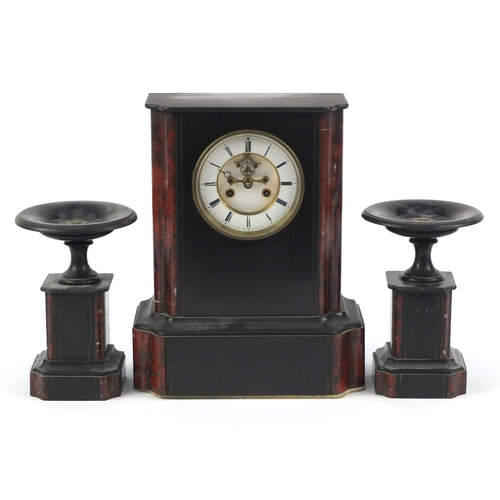 2160 - Victorian black slate and marble mantel clock with garnitures, the mantel clock with visible Brocot ...