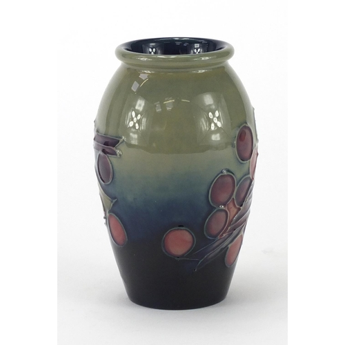 2054 - Moorcroft pottery vase hand painted birds and berries, 10.5cm high...