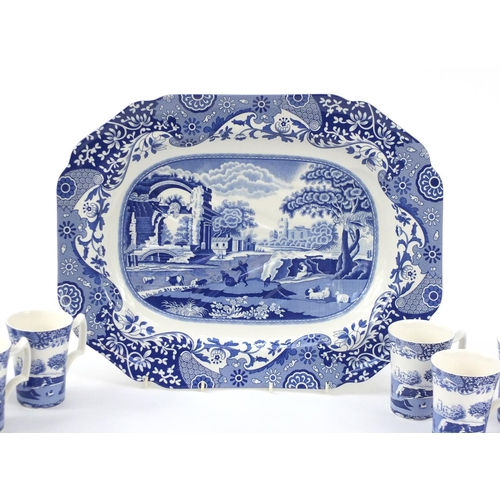 2039 - Spode blue Italian including a meat platter and two sets of four cups each with boxes, the largest 5...