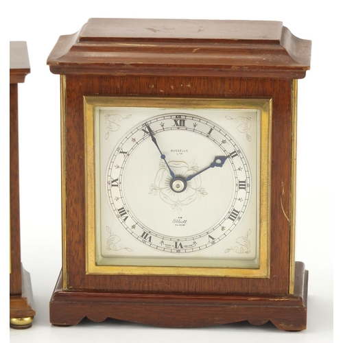 2163 - Two mahogany cased Elliott mantel clocks, retailed by Bruford and Russells both with silvered chapte...