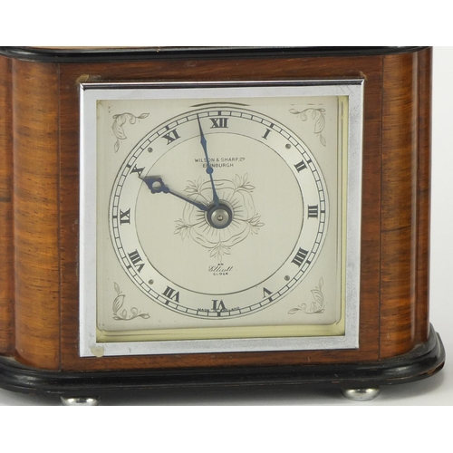 2181 - Two Elliott mantle clocks both retailed by Wilson & Sharp of Edinburgh and with silvered chapter rin...