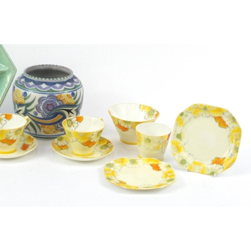 256 - China including Paragon cups and saucers, a Poole pottery vase and a Shorter & Son sectional dish...