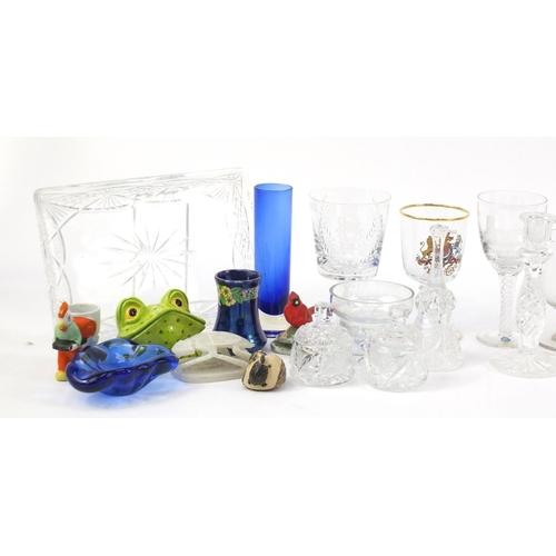 246 - China and glassware including a Stuart Crystal commemorative goblet, Branksome polar bear, Lladro st...