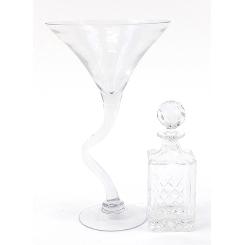 415 - Brighton and Hove Stadium Winner 2002 crystal decanter and an art glass, the largest 40cm high...
