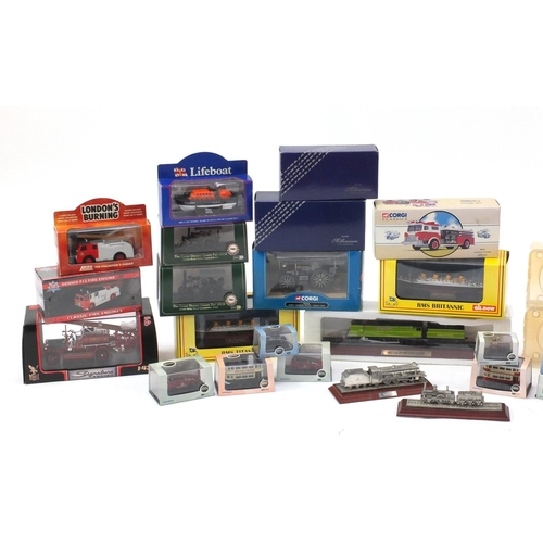 2330 - Die cast model vehicles and ships including Gilbow models, Corgi Classics fire engines and Royal Mai...