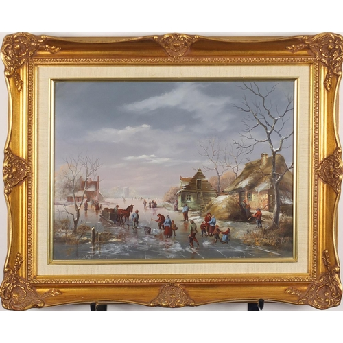 2072 - Dutch snowy landscape with figures and a windmill, oil on wood panel, mounted and framed, 39cm x 29....