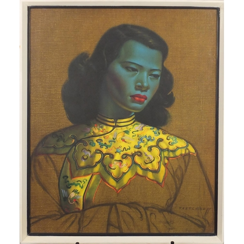 2077 - Tretchikoff - Portrait of an Asian girl, vintage print in colour, mounted and framed, 60cm x 50cm...