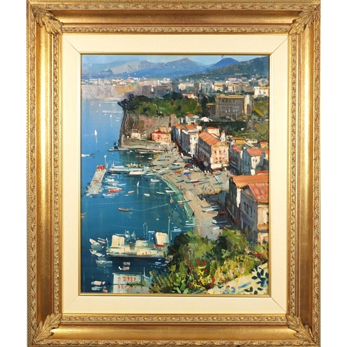 2122 - Sorrento, Marina Grande, oil on board, bearing an indistinct signature, inscriptions and certificate...