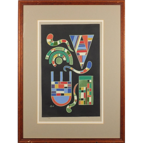 2078 - Abstract composition, gouache on card, bearing a monogram C K, mounted and framed, 45.5cm x 29.5cm...