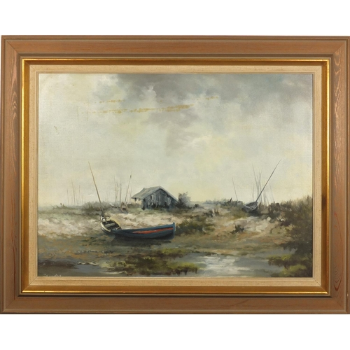 2151 - Saunders - Moored boats, oil on board, Devon Galleries label verso, mounted and framed, 56.5cm x 41....