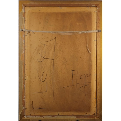 2035 - Abstract composition, two Cubist figures, oil on board, bearing a monogram FL and inscription verso,...
