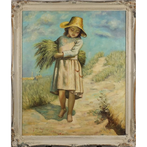 2123 - Young girl carrying wheat, Italian school oil on board, bearing an indistinct signature possibly M D...