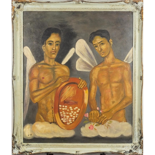 2229 - Two nude males, Modern British oil on board, bearing a monogram VB and inscription verso, framed, 59...