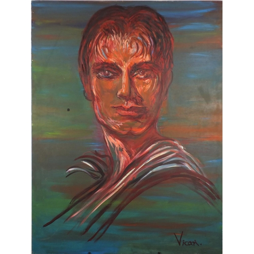 2227 - Andrew Vicari - Head and shoulders portrait, titled Leo, oil on canvas, inscribed verso, unframed, 1...