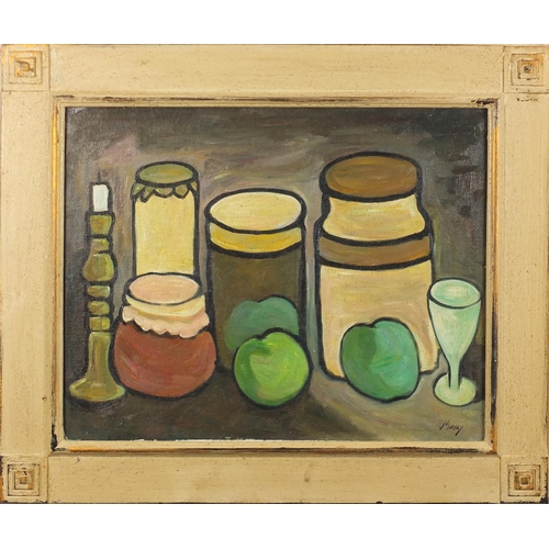 2037 - Still life fruit and pots, Irish school oil on board, bearing a signature Markey, framed, 49.5cm x 3...