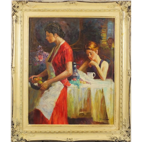 2156 - Figures in a restaurant, Italian school oil on board, bearing a signature Pino, framed, 50cm x 39cm...