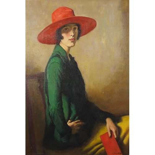 2036 - Portrait of a seated female wearing a wide brimmed hat, oil on board, bearing a signature Laura Knig...