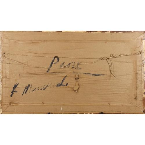 2223 - Manner of Antoine Blanchard - Parisian snowy street scene, oil on board, framed, 59cm x 29cm...