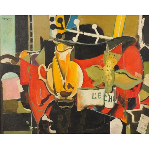 2038 - Abstract composition, still life, impressionist oil on board, bearing a signature Metzinger, framed,...