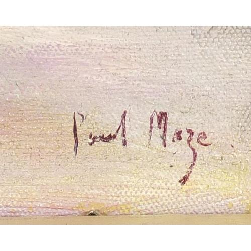 2155 - Street scene, oil on board, bearing a signature Paul Maze, framed, 61.5cm x 36cm...