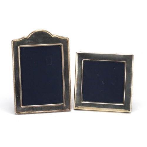 2270 - Two silver easel photo frames, Sheffield 1988 and 1992, the largest 17cm high...