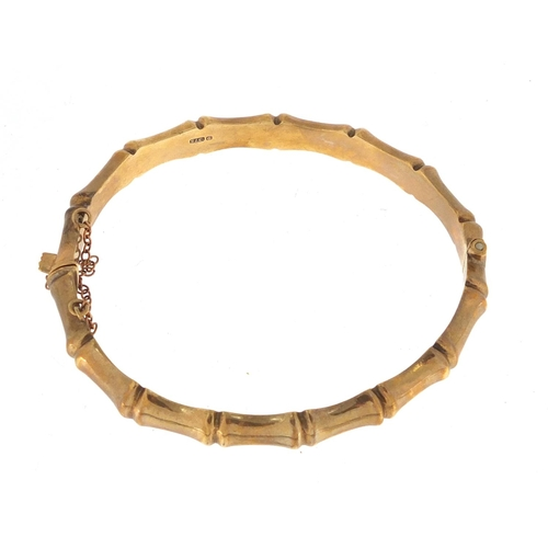 2344 - 9ct gold bamboo design bangle, approximate weight 12.2g...