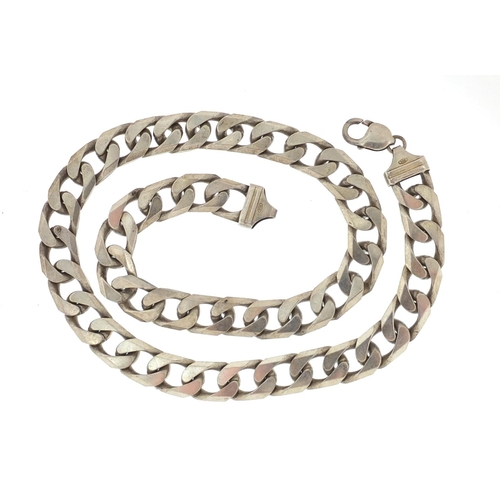 2373 - Large gentleman's silver curb link necklace, 50cm in length, approximate weight 157.5g...