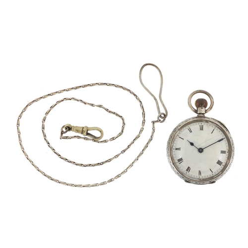 2387 - Ladies silver Waltham open face pocket watch with floral chased decoration and a white metal watch c...
