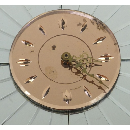 2008 - Art Deco flower head design peach and clear glass wall clock, 38cm in diameter...