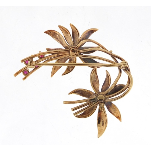 2359 - 9ct gold ruby floral brooch, 3.6cm in length, approximate weight 5.4g...