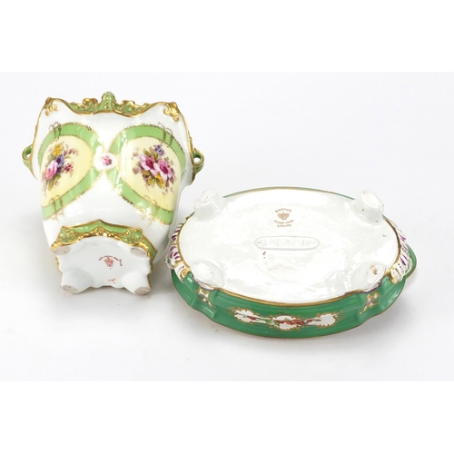 2062 - Royal Crown Derby Cache pot and a Booths trefoil dish and cover, decorated with birds of paradise an...